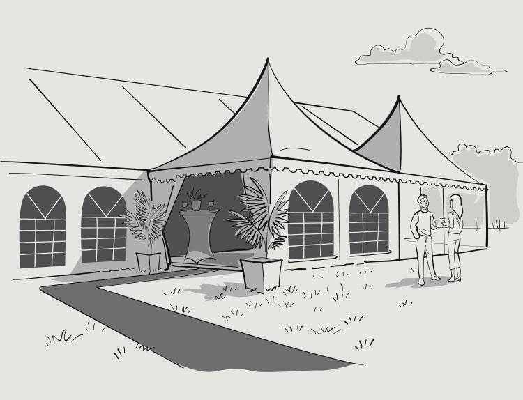 Tentes de réception dessin tente pagode